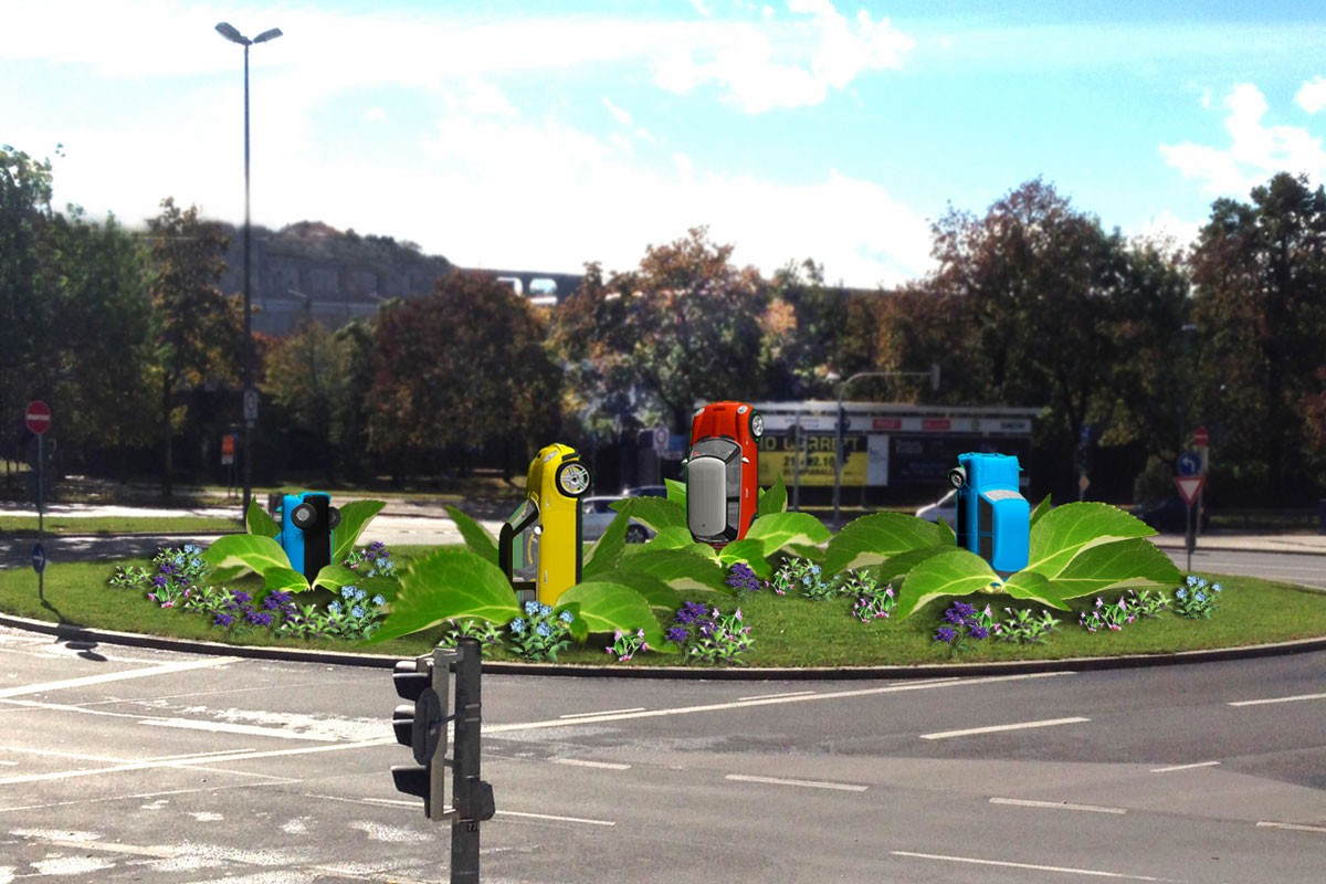 MINI concept traffic island MINI flowers