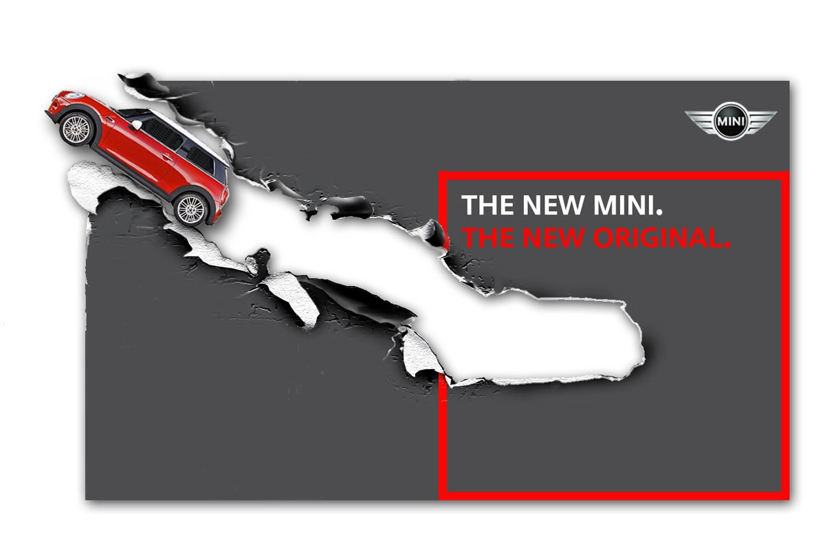 MINI Billboard concept Ripped Paper