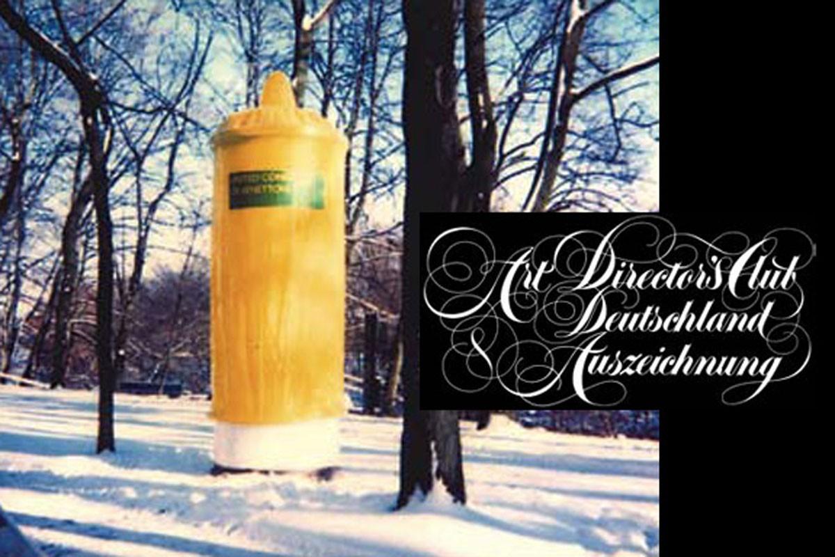 United kondoms of-Benetton<br /> covered advertising pillars, allover capital cities of Germany